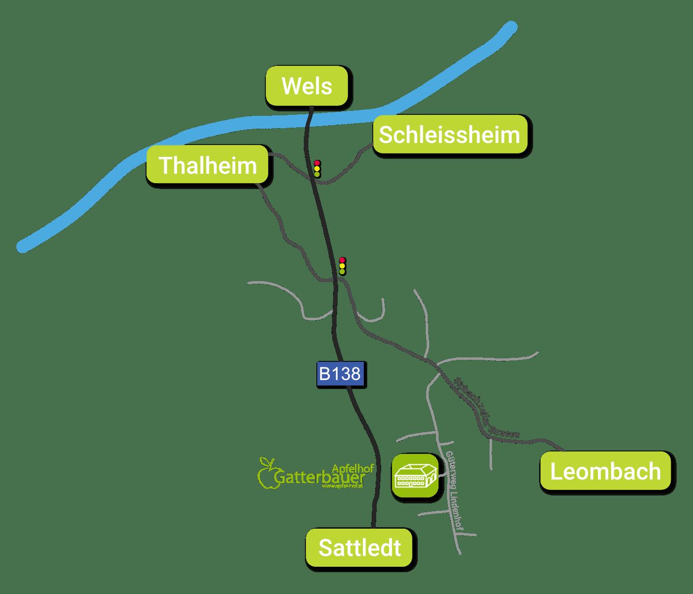 Anfahrt Apfelhof Gatterbauer
